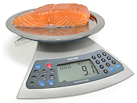 salmon on a digital scale