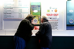 Sold out signs outside the turnstiles - Rogan/JMP - 26/01/2018 - FOOTBALL - Huish Park - Yeovil, England - Yeovil Town v Manchester United - FA Cup Fourth Round.