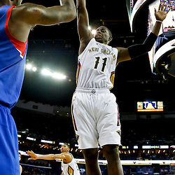 Nov 16, 2013; New Orleans, LA, USA; New Orleans Pelicans point guard Jrue Holiday (11) defends an inbounds pass by Philadelphia 76ers shooting guard Tony Wroten (8) during the first half of a game at New Orleans Arena. Mandatory Credit: Derick E. Hingle-USA TODAY Sports