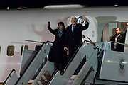 U.S. Vice President Mike Pence and his wife Karen Pence disembark after arriving at U.S. Air Force Yokota Air Base in Fussa, on the outskirts of Tokyo, Japan, February 6, 2018. 06/02/2018-Fussa, JAPAN