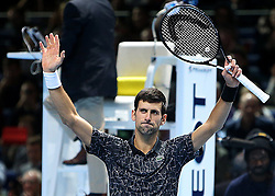 November 14, 2018 - Londres, Angleterre - Serbia's Novak Djokovic (SRB) celebrating his winning second  round -robin match of The Nitto ATP Finals 2018 at  The O2 Arena, London (Credit Image: © Panoramic via ZUMA Press)