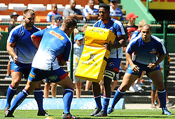 Cape Town-180217 Stomers players Skhumbuzo Notshe and JC Janse van Rensburg warming up before their Super 15 rugby game against Jaguares.photograph:Phando Jikelo/African News Agency/ANA