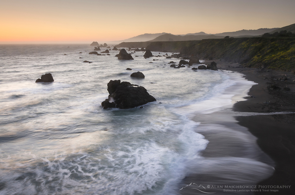 Long exposure twilight view of Sonoma Coast California