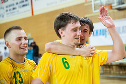 Mario Cingesar, Darko Cingesar and Anze Rebic of RD Loka 2012 celebrate after the handball match between RD Loka and RK Slovenj Gradec in 21st Round of 1B DRL  league 2013/14 on May 10, 2014, in Sportna dvorana Poden, Skofja Loka, Slovenia. Photo by Vid Ponikvar / Sportida