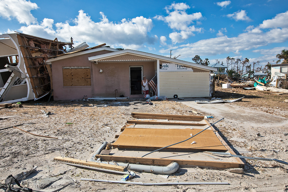 Tom Garcia  in front of his home that was destroyed by  Hurricane Michael in Mexico Beach, Florida.