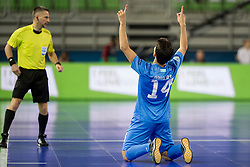 Douglas Junior of Kazakhstan celebrates goal during futsal match between National teams of Kazakhstan and Russia at Day 5 of UEFA Futsal EURO 2018, on February 3, 2018 in Arena Stozice, Ljubljana, Slovenia. Photo by Urban Urbanc / Sportida