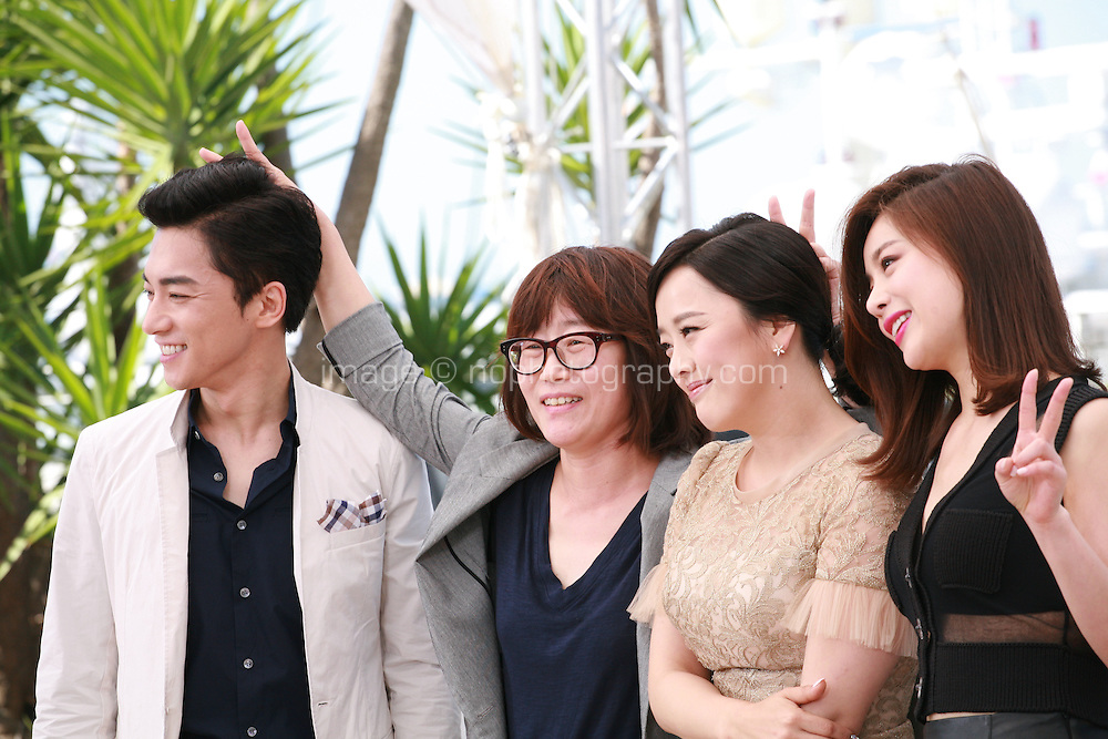 Actor Kim Young-Min, Director Shin Su-Won, singer Kwon So-Hyun and actress Seo Young-Hee at the Madonna film photo call at the 68th Cannes Film Festival Tuesday May 20th 2015, Cannes, France.