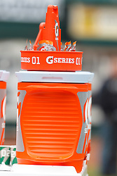 Dec 18, 2011; Oakland, CA, USA; Detailed view of a Gatorade container on the sidelines before the game between the Oakland Raiders and the Detroit Lions at O.co Coliseum. Detroit defeated Oakland 28-27. Mandatory Credit: Jason O. Watson-US PRESSWIRE