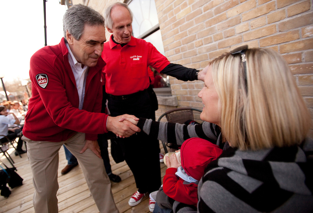 Liberal leader Michael Ignatieff greets supporters during a campaign stop in Paris, Ontario April 30, 2011.<br /> REUTERS/Geoff Robins (CANADA)