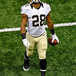 September 23, 2012; New Orleans, LA, USA; New Orleans Saints running back Mark Ingram (28) prior to kickoff of a game against the Kansas City Chiefs at the Mercedes-Benz Superdome. Mandatory Credit: Derick E. Hingle-US PRESSWIRE