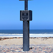 """Padrão"" stone cross at Cape Cross Bay, Skeleton Coast Namibia. (Settled by Portuguese navigator and explorer Diogo Cão in 1484)"