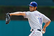 May 22, 2014; Detroit, MI, USA; Texas Rangers starting pitcher Yu Darvish (11) warms up before the first inning against the Detroit Tigers at Comerica Park. Mandatory Credit: Rick Osentoski-USA TODAY Sports