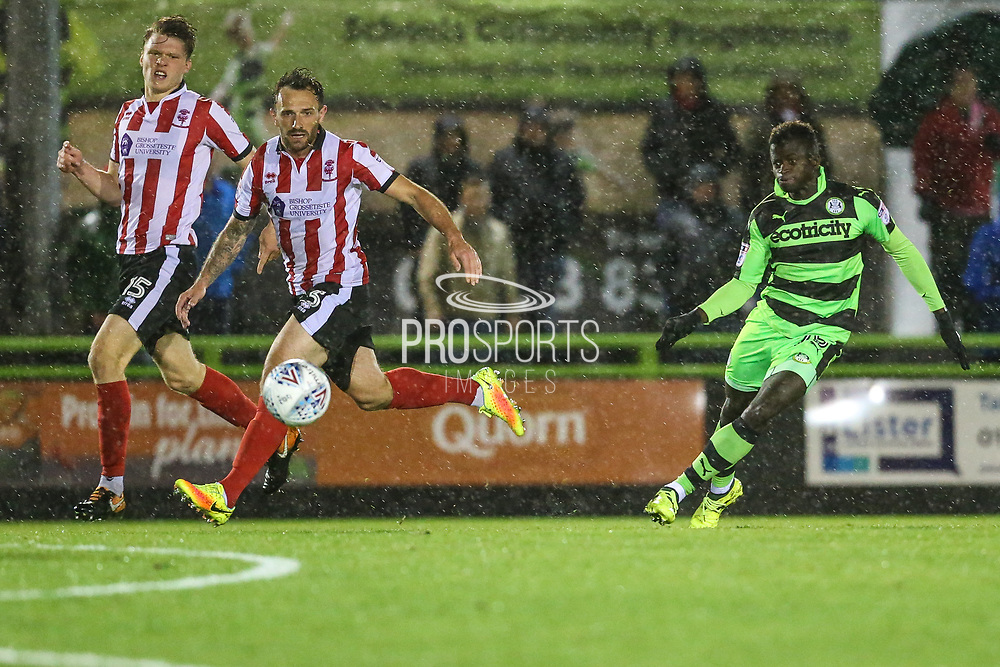 Forest Green Rovers Toni Gomes(25) shoots at goal during the EFL Sky Bet League 2 match between Forest Green Rovers and Lincoln City at the New Lawn, Forest Green, United Kingdom on 12 September 2017. Photo by Shane Healey.