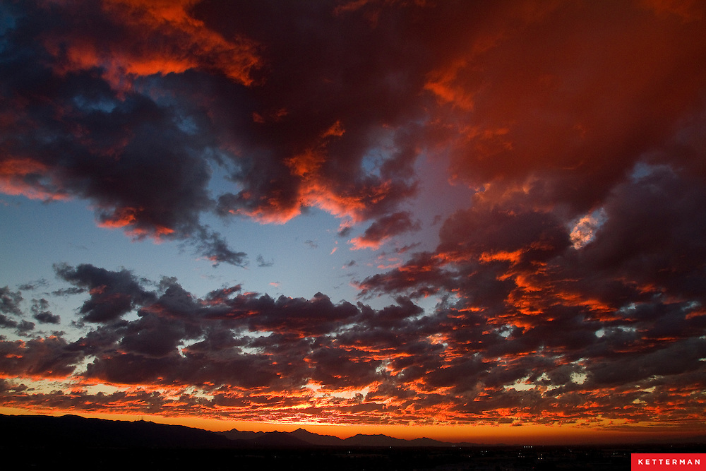 A cloudy and vibrant sunset in Phoenix, Arizona
