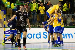 Players of RK Celje Pivovarna Lasko celebrate after handball match between RK Celje Pivovarna Lasko (SLO) and HC PPD Zagreb (CRO) in Group phase of VELUX EHF Men's Champions League 2018/19, November 18, 2018 in Arena Zlatorog, Celje, Slovenia. Photo by Urban Urbanc / Sportida