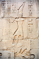frieze of pharaoh Amenhotep IV in the Karnak temple in luxor upper egypt