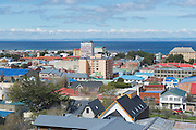 PUNTA ARENAS, CHILE - OCTOBER 28, 2013: Scenic view of Punta Arenas and Magellan strait in Punta Arenas, Chile. It is the southernmost city on the planet with population over 100 thousand located on continent.