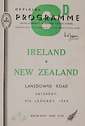 Irish Rugby Football Union, Ireland v New Zealand, Tour Match, Landsdowne Road, Dublin, Ireland, Saturday 9th January, 1954,9.1.1954, 1.9.1954, Referee- DR P F Cooper, Rugby Union, Score- Ireland 3 - 14 New Zealand,<br />  Irish Team,<br /> J G M W Murphy, Wearing number 15 Irish jersey, Full Back, Lurgan Rugby Football Club, Armagh, Northern Ireland, M Mortell, Wearing number 14 Irish jersey, Right wing, Bective Rangers Rugby Football Club, Dublin, Ireland, and, Dolphin Rugby Football Club, Cork, Ireland, ..N J Henderson, Wearing number 13 Irish jersey, Right centre, N.I.F.C, Rugby Football Club, Belfast, Northern Ireland, ..A C Pedlow, Wearing number 12 Irish jersey, Left centre, Queens University Rugby Football Club, Belfast, Northern Ireland, J T Gaston, Wearing number 11 Irish jersey, Left wing, Dublin University Rugby Football Club, Dublin, Ireland, <br />  J W Kyle, Wearing number 10 Irish jersey, Captain of the Irish team, Stand Off, N.I.F.C, Rugby Football Club, Belfast, Northern Ireland, ..J A O'Meara, Wearing number 9 Irish jersey, Scrum half, Dolphin Rugby Football Club, Cork, Ireland, J H Smith, Wearing number 1 Irish jersey, Forward,  London Irish Rugby Football Club, Surrey, England, F E Anderson, Wearing number 2 Irish jersey, Forward, Queens University Rugby Football Club, Belfast, Northern Ireland, W A O'Neill, Wearing number 3 Irish jersey, Forward, Wanderers Rugby Football Club, Dublin, Ireland, R H Thompson, Wearing number 4 Irish jersey, Forward, Instonians Rugby Football Club, Belfast, Northern Ireland, P J Lawlor, Wearing number 5 Irish jersey, Forward, Clontarf Rugby Football Club, Dublin, Ireland, J S McCarthy, Wearing number 6 Irish jersey, Forward, Dolphin Rugby Football Club, Cork, Ireland, T E Reid, Wearing number 7 Irish jersey, Forward, Garryowen Rugby Football Club, Limerick, Ireland, R Kavanagh, Wearing number 8 Irish jersey, Forward, Wanderers Rugby Football Club, Dublin, Ireland, New Zealand Team, R W H Scott, Wearing numbe