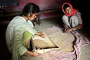 Rubina, 12, is helping her mother to separate some wheat grain from its chaffs in their home in the village of Barnawa, pop.6000, Baghpat District, Uttar Pradesh, India, located along the banks of the severely polluted Hindon river on Friday, Apr. 18, 2008. Rubina was born with a neurological disorder that have left her cognitive skills gravely affected. The family laments that their 80 ft deep private hand-pump is delivering yellow-coloured water that smells and tastes differently from fresh water, although they continue drinking it as they have no means of collecting safer water on a daily basis.