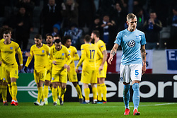 February 14, 2019 - MalmÃ, Sweden - 190214 Sören Rieks of Malmö FF looks dejected while players of Chelsea celebrate 0-1 during the Europa league match between Malmö FF and Chelsea on February 14, 2019 in Malmö..Photo: Ludvig Thunman / BILDBYRÃ…N / kod LT / 92225 (Credit Image: © Ludvig Thunman/Bildbyran via ZUMA Press)