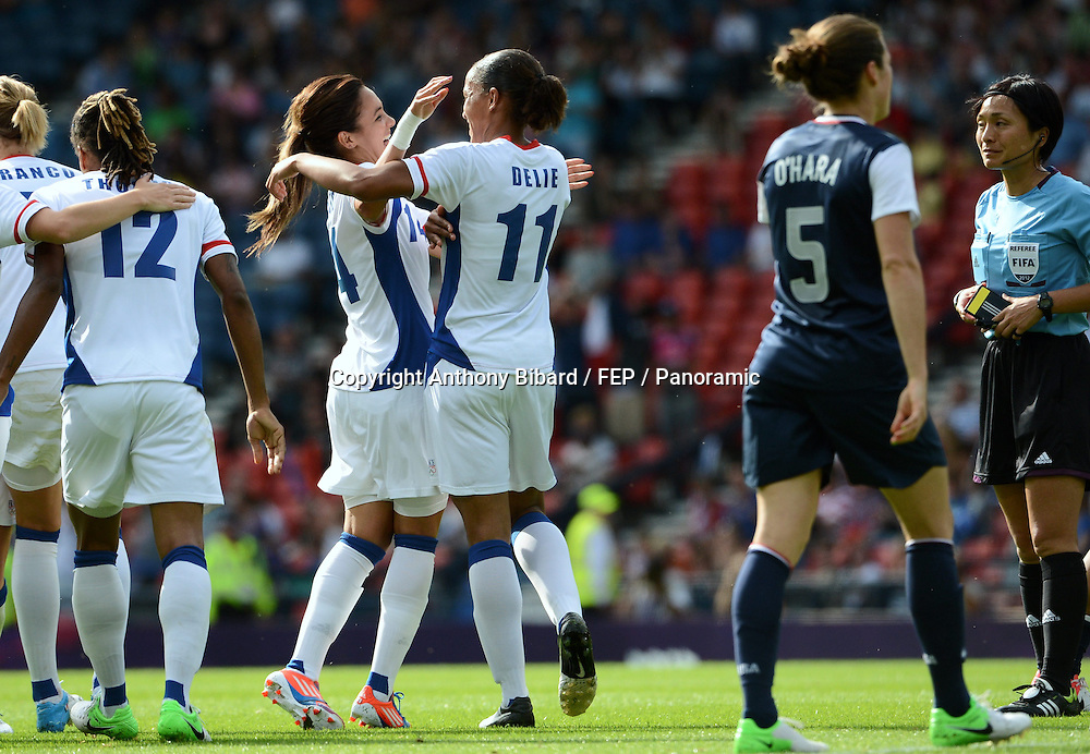 Louisa NECIB (fra) - Marie Laure DELIE (fra), FOOTBALL Womens : France vs United States, London 2012 Olympic Games, 25 July 2012. Photo: Panoramic/photosport.co.nz