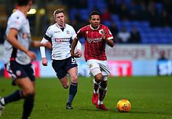 Korey Smith of Bristol City goes past Josh Vela of Bolton Wanderers - Mandatory by-line: Robbie Stephenson/JMP - 02/02/2018 - FOOTBALL - Macron Stadium - Bolton, England - Bolton Wanderers v Bristol City - Sky Bet Championship