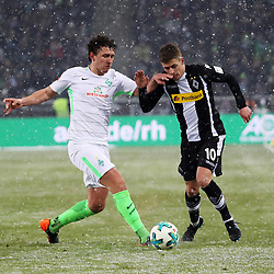 MOENCHENGLADBACH, March 3, 2018  Milos Veljkovic (L) of Bremen vies with Thorgan Hazard of Moenchengladbach during the Bundesliga match between Borussia Moenchengladbach and SV Werder Bremen at Borussia-Park in Moenchengladbach, Germany, on March 2, 2018.  The match ended with a 2-2 draw. (Credit Image: © Ulrich Hufnagel/Xinhua via ZUMA Wire)