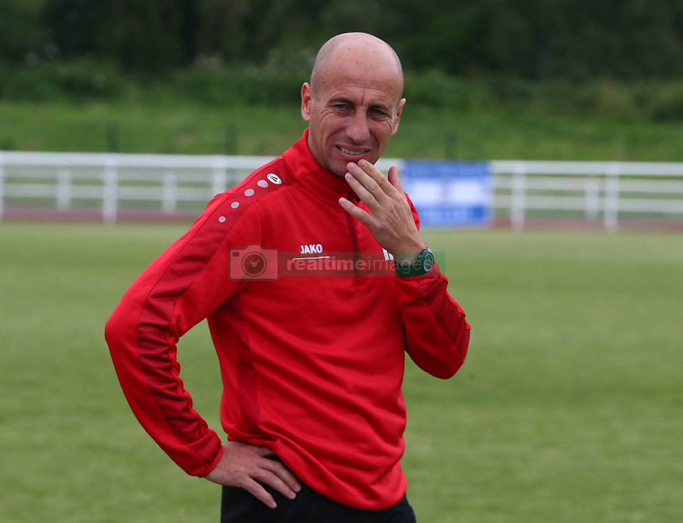 June 9, 2018 - London, England, United Kingdom - Robert Ilyes Head Coach of Szekely Land.during Conifa Paddy Power World Football Cup 2018 Bronze Medal Match Third Place Play-Off between Padania v Szekely Land at Queen Elizabeth II Stadium (Enfield Town FC), London, on 09 June 2018  (Credit Image: © Kieran Galvin/NurPhoto via ZUMA Press)