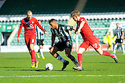 Plymouth Argyle's Reuben Reid York City's Luke Hendrie during the Sky Bet League 2 match between Plymouth Argyle and York City at Home Park, Plymouth, England on 28 March 2016. Photo by Graham Hunt.