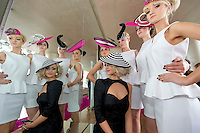 11/07/2012. .Catwalk models Linda Moran,  Kamile Jucyte, Simona Vasiliauskaite, Leonie McGuigan and seated Ismay McVey (wearing a philip Tracy hat aka Lady Gaga ) during the 2012 Galway Races Summer Festival, official launch  in the g Hotel, Galway. The seven day festival runs from Monday 30th July to Sunday 5th August. Photo:Andrew Downes.