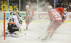 18.12.2015, Stadthalle, Klagenfurt, AUT, EBEL, EC KAC vs Dornbirner Eishockey Club, 32. Runde, im Bild Florian Hardy (Dornbirner Eishockey Club, #49), Jonathan D'Aversa (Dornbirner Eishockey Club, #6), Thomas Hundertpfund (EC KAC, #27), Jean-François Jacques (EC KAC, #39) // during the Erste Bank Eishockey League 32nd round match match betweeen EC KAC and Dornbirner Eishockey Club at the City Hall in Klagenfurt, Austria on 2015/12/18. EXPA Pictures © 2015, PhotoCredit: EXPA/ Gert Steinthaler
