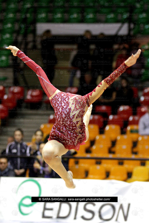 Cammarata Ilaria of SOCIETA' GINNASTICA PAVESE A.S.D. performing in a ball routine during the 2012 italian Serie A2 rhythmic gymnastic competition. Her score was 21,775