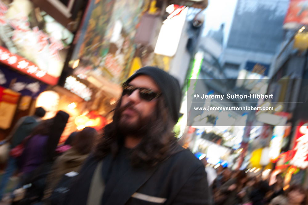 Ian Astbury, lead singer with The Cult, in the Shibuya district of Tokyo, Japan, Sunday 28th November 2010. Ian Astbury was in Tokyo to play as part of the band 'BXI'- a musical collaboration between himself and Japanese band 'Boris'. 'BXI' played at Club WWW, in Shibuya, Tokyo.