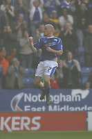 Photo: Pete Lorence.<br />Leicester City v Southampton. Coca Cola Championship. 14/10/2006.<br />Iain Hume celebrates scoring the first goal of the match.