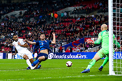 Callum Wilson of England shoots at goal past Matt Miazga of USA but wide of the goal - Mandatory by-line: Robbie Stephenson/JMP - 15/11/2018 - FOOTBALL - Wembley Stadium - London, England - England v United States of America - International Friendly