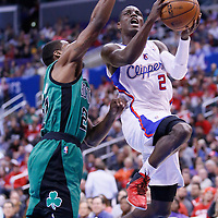 08 January 2014: Los Angeles Clippers point guard Darren Collison (2) drives past Boston Celtics shooting guard Jordan Crawford (27) during the Los Angeles Clippers 111-105 victory over the Boston Celtics at the Staples Center, Los Angeles, California, USA.