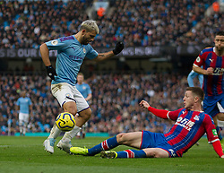 Sergio Aguero of Manchester City (L) has a shot blocked - Mandatory by-line: Jack Phillips/JMP - 18/01/2020 - FOOTBALL - Etihad Stadium - Manchester, England - Manchester City v Crystal Palace - English Premier League