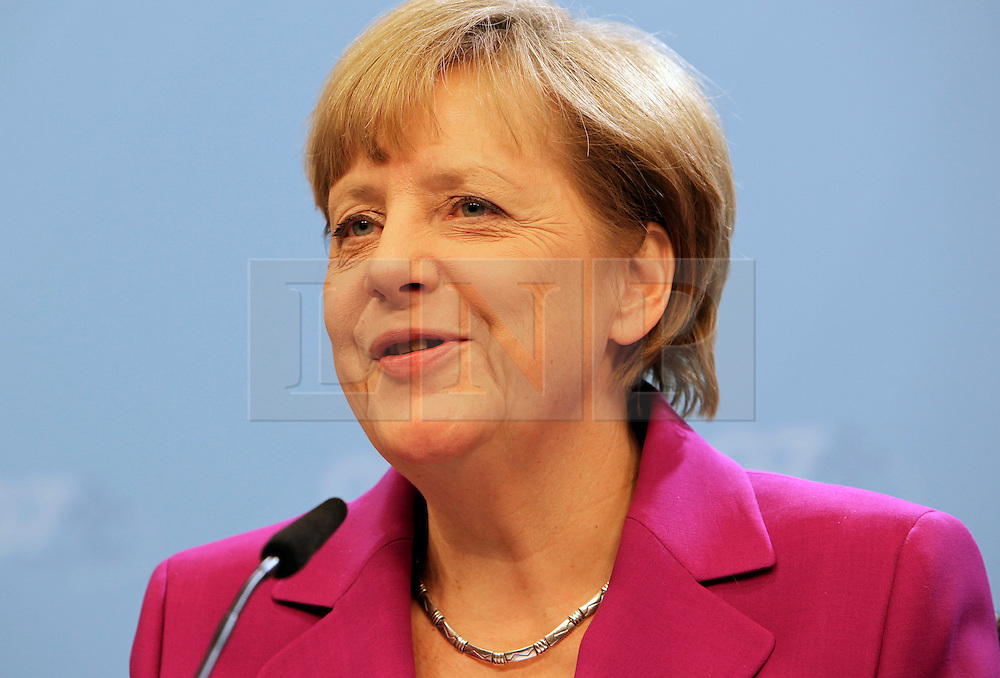 &copy; Licensed to London News Pictures. 04/06/2014. BRUSSELS, BELGIUM.<br /> ANGELA MERKEL, GERMAN CHANCELLOR, GIVES A PRESS CONFERENCE AT THE G7 SUMMIT IN BRUSSELS THIS EVENING AFTER THE WORKING DINNER WITH G7 LEADERS. Photo credit : RICH BOWEN/LNP
