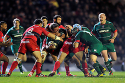 Tom Youngs of Leicester Tigers is tackled - Photo mandatory by-line: Patrick Khachfe/JMP - Mobile: 07966 386802 07/12/2014 - SPORT - RUGBY UNION - Leicester - Welford Road - Leicester Tigers v Toulon - European Rugby Champions Cup