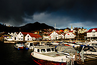 Boats are seen at the marina of the village of Sand in Norway