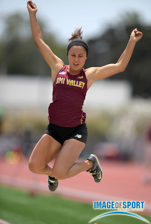 Jordyn Brown of Simi Valley places 10th in the girls long jump at 18-2 1/2 during the 2019 CIF Southern Section Masters Meet in Torrance, Calif., Saturday, May 18, 2019.
