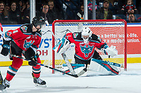 KELOWNA, CANADA - NOVEMBER 17: James Porter #1 of the Kelowna Rockets defends the net against the Lethbridge Hurricanes on November 17, 2017 at Prospera Place in Kelowna, British Columbia, Canada.  (Photo by Marissa Baecker/Shoot the Breeze)  *** Local Caption ***