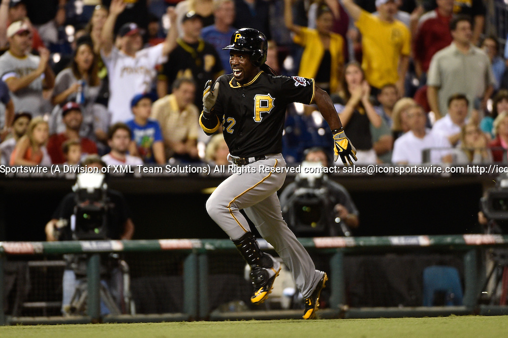 10 September 2014: Pittsburgh Pirates center fielder Andrew McCutchen (22) heads home for an inside the park home run during the fifth inning against the Philadelphia Phillies at Citizens Bank Park.