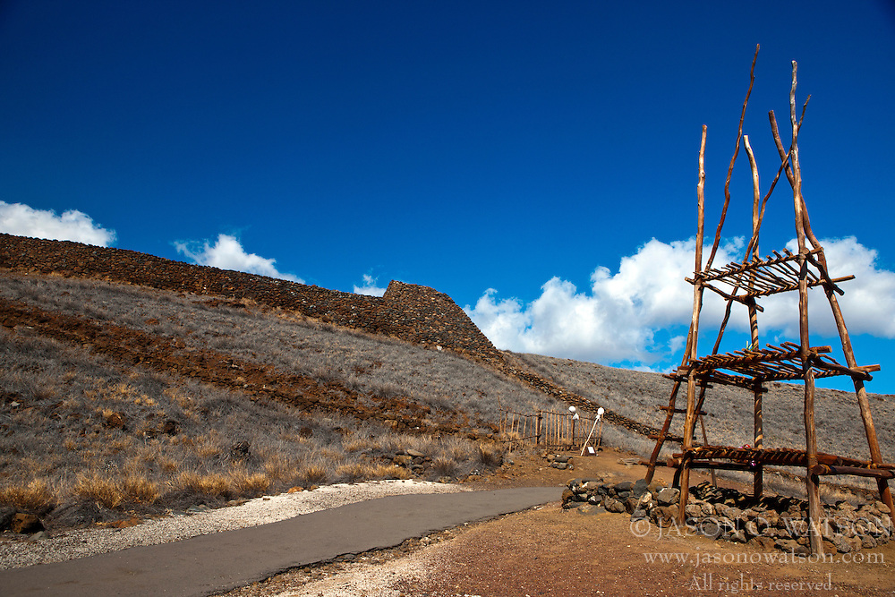 Wooden stand outside of temple, Pu'ujohola Heiau National Historic Site, The Big Island, Hawaii, United States of America
