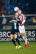 13-02-2016 VOETBAL:WILLEM II-DE GRAAFSCHAP:TILBURG<br /> Vincent Vermeij van De Graafschap in duel met Dries Wuytens van Willem II <br /> Foto: Geert van Erven