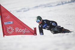 Jeong Haerim during the women's Snowboard giant slalom of the FIS Snowboard World Cup 2017/18 in Rogla, Slovenia, on January 21, 2018. Photo by Urban Meglic / Sportida