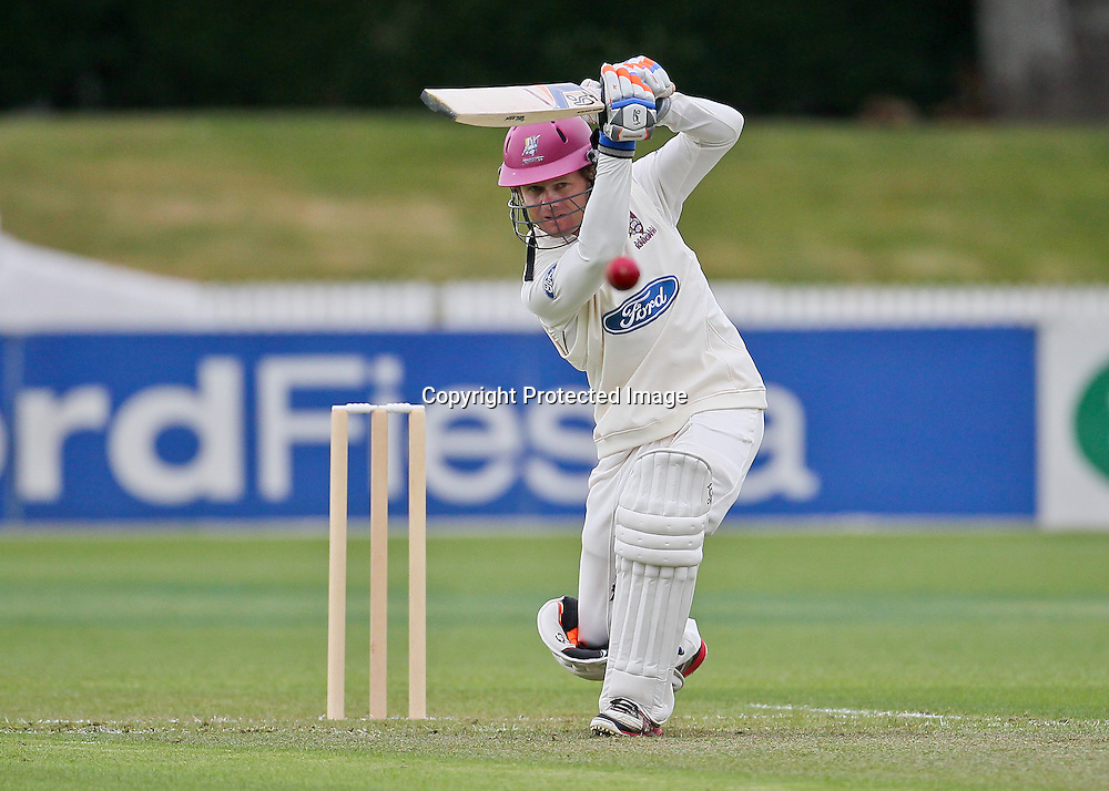 Northern Knight's James Marshall drives down the ground for four during Day 1 of the Plunket Shield Cricket match, Northern Knights v Canterbury Wizards at Seddon Park, Hamilton on Sunday 2 December 2012.  Photo: Bruce Lim / Photosport.co.nz