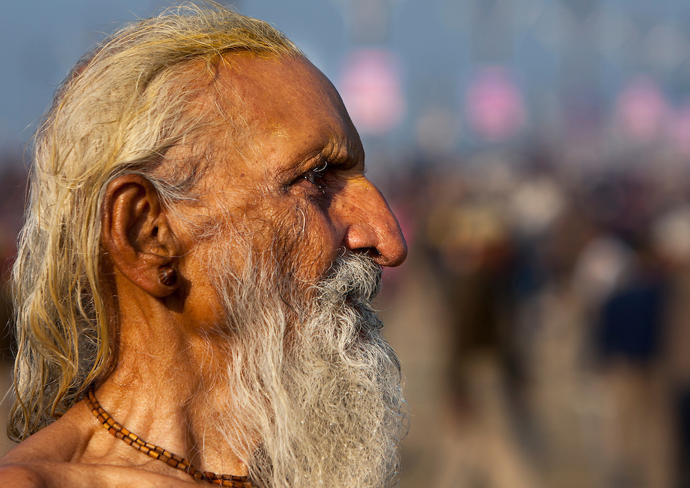 Naga Sadhu, Maha Kumbh Mela festival, world's largest congregation of religious pilgrims. Allahabad, India.
