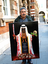 Warning of content..Spanish artist Kaya Mar's latest work called 'Arab Spring ' which he showed for the first time, Westminster, London, UK, May 1 2013. Photo by: Max Nash / i-Images