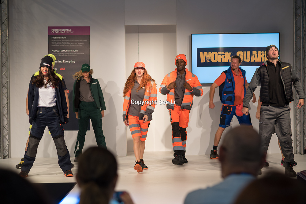 Work-Guard Catwalk show at the Professional Clothing Show - Safety and Health Expo at Excel London, UK on June 19 2018.